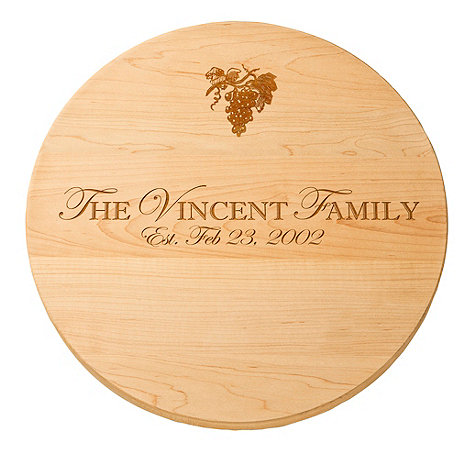 Personalized Maple Lazy Susan with Grape Imprint (16 inches)
