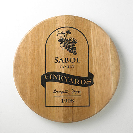 Authentic Barrel Head Wall Plaque with Personalized Wine Label