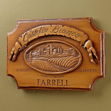 Personalized Castello Bianco Label Wall Plaque (Brown)