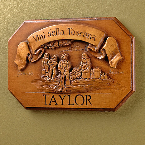 Personalized Vini Della Toscana Label Wall Plaque (Brown)