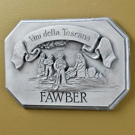 Personalized Vini Della Toscana Label Wall Plaque (White Wash)