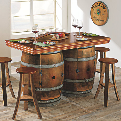 Reclaimed Wine Barrel BarIsland Set Enthusiast