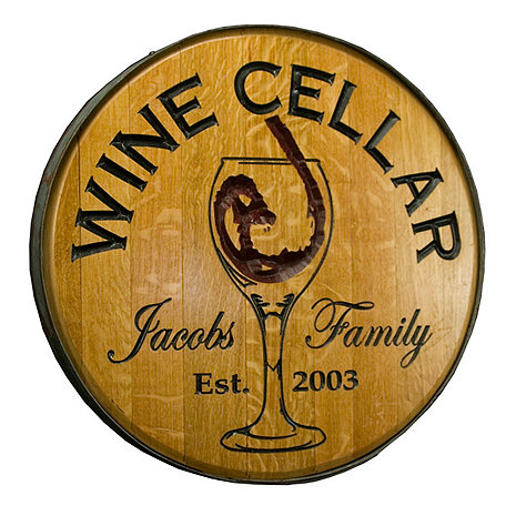 Personalized Reclaimed Wine Barrel Head with Wine Cellar and Wine Glass