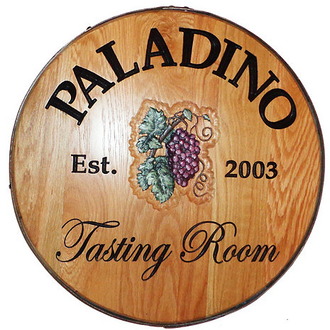 Personalized Reclaimed Wine Barrel Head with Tasting Room and Grapes