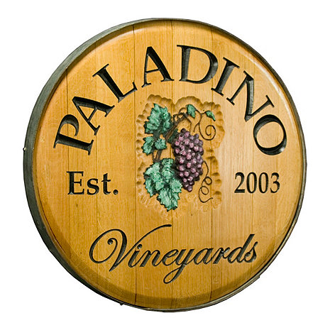 Personalized Reclaimed Wine Barrel Head with Vineyards and Grapes