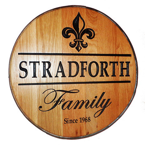 Personalized Reclaimed Wine Barrel Head with Family and Fleur de Lis