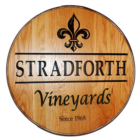Personalized Reclaimed Wine Barrel Head with Vineyards and Fleur de Lis