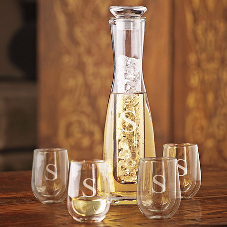 Personalized 2 Piece Chilling Carafe & 4 Steady-Temp White Wine Tumblers