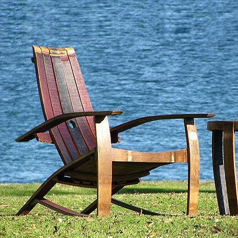 Wine Barrel Adirondack Chair (Closed Top)