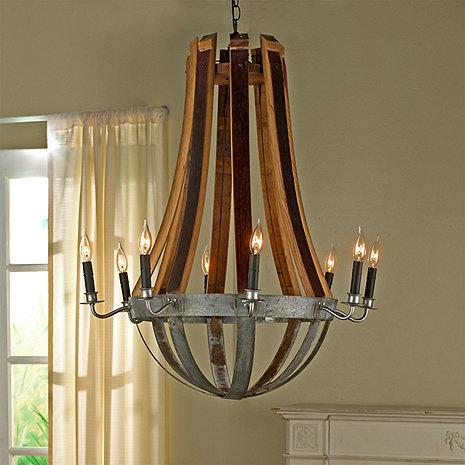 Reclaimed Wine Barrel Stave Chandelier