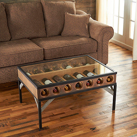 Wine Bottle Display Coffee Table