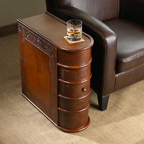 Leather Book Side Table Wine Enthusiast