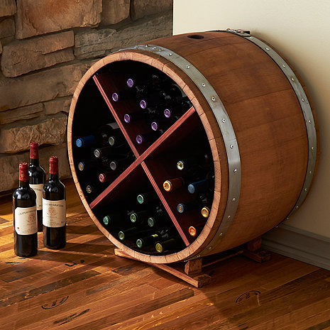 Reclaimed Half Barrel X Wine Rack