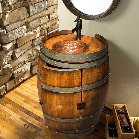 Reclaimed Wine Barrel Vanity Wine Enthusiast