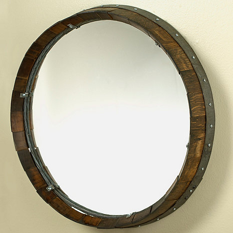 Reclaimed Barrel Head Mirror