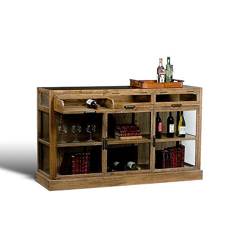 Grey Oak Display Cabinet (Three Sections)