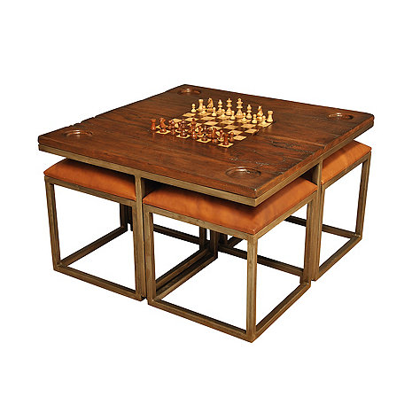Game Top Coffee Table with Leather Stools
