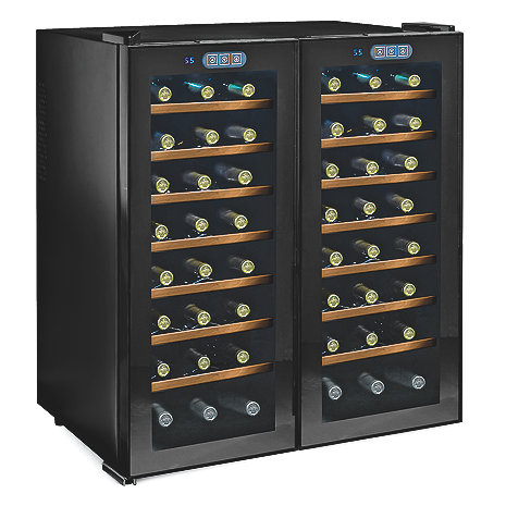 Wine Enthusiast Silent 48 Bottle Touchscreen Double Door Dual Zone Wine Refrigerator (Smoked Glass Doors) (Wood Front Shelves)