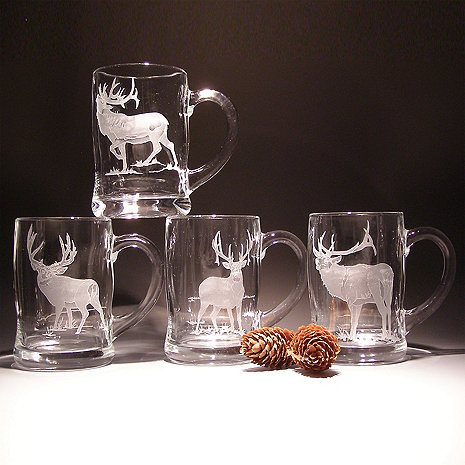 Etched Elk Beer Mugs (Set of 4)