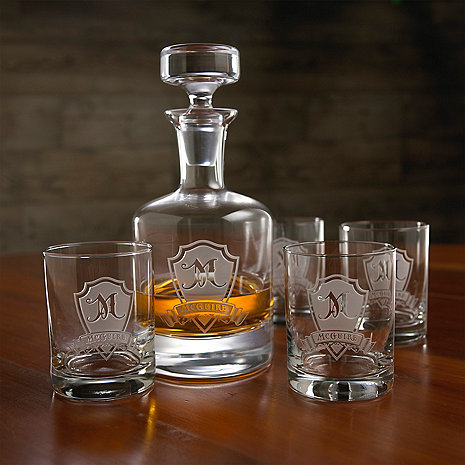 personalized shield whiskey decanter and glasses set wine enthusiast. Black Bedroom Furniture Sets. Home Design Ideas