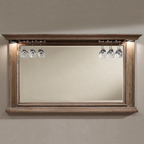 Riviera Bar Mirror Weathered Oak with Wine Glass Rack