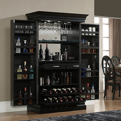 Angelina black bar wine enthusiast for Bar at home furniture