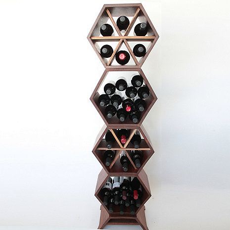 Honeycomb Modular Wine Rack 4 Piece (Walnut)
