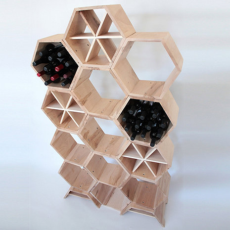 Honeycomb Modular Wine Rack 13 Piece (Maple)