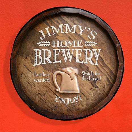 Personalized Quarter Barrel Head with Beer Mug Relief
