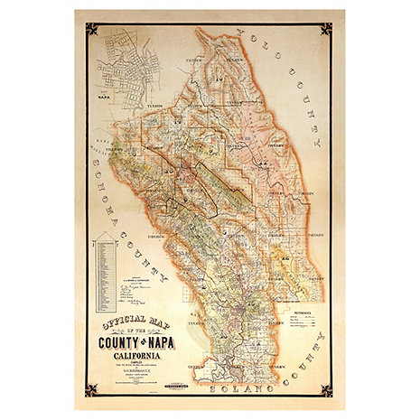 1895 Vintage Napa Map Giclee Print on Canvas