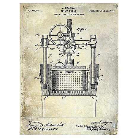 1903 Wine Press Patent Giclee Print on Canvas
