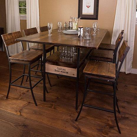 Vino Vintage Farm Style Pub Table with 6 Pub Chairs