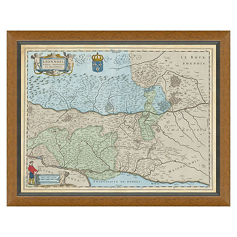 Lyon, Rhone, Burgundy Vintage Reproduction Map 1642