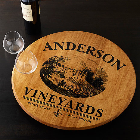 Personalized Barrel Head Lazy Susan with Vineyard Graphic