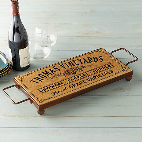 Personalized Serving Board with Wrought Iron Base