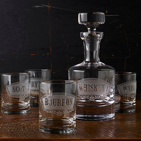Old Fashioned Deep Etched Whiskey Decanter & Glass Set