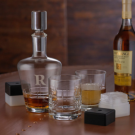 Personalized Highlands Five Piece Whiskey Decanter, Glasses & Ice Molds Set