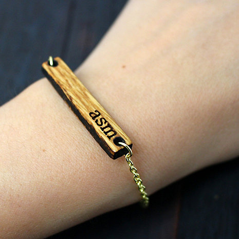 Monogrammed Reclaimed Bourbon Barrel Bracelet
