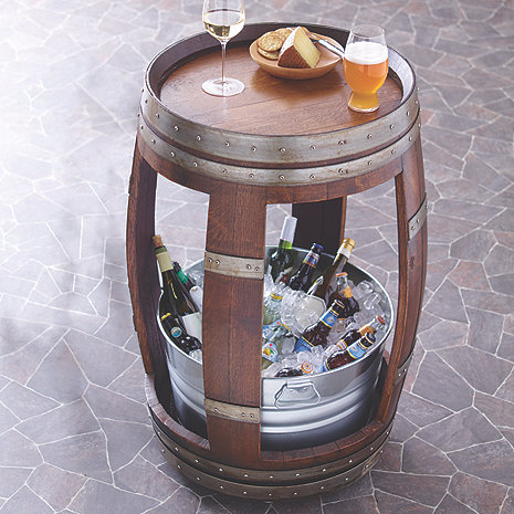 Reclaimed Wine Barrel Table with Chiller