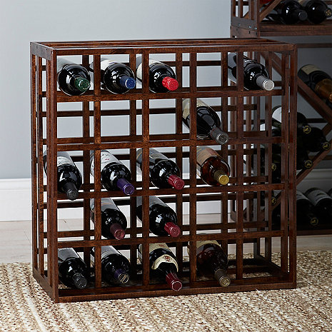 Wooden Grid 25 Bottle Wine Rack