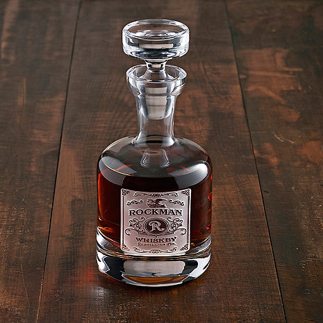 Personalized Etched Whiskey Label Decanter