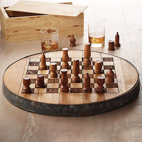 Reclaimed Barrel Head Chess Set with Monogrammed Storage Box