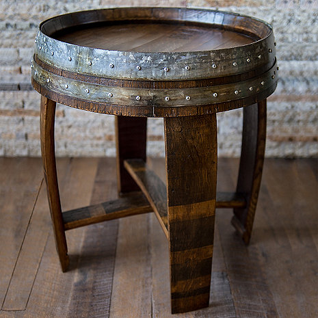 reclaimed wine barrel end side table wine enthusiast