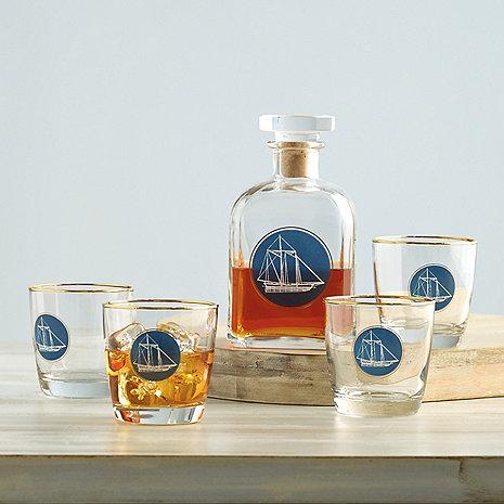 Clipper Ship Whiskey Decanter & Glasses Set