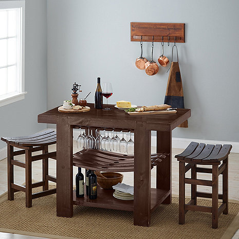 Napa Valley Kitchen Island and Stool Set (Caramel Finish)