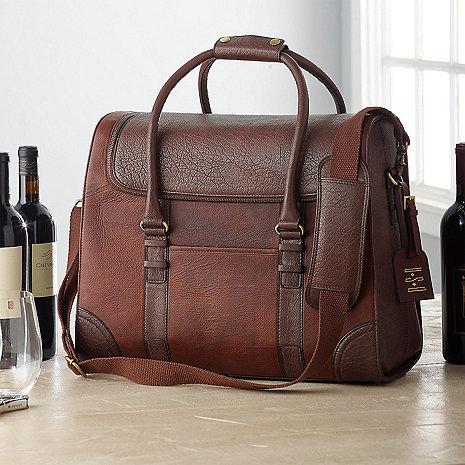 6-Bottle Leather Weekender Wine Bag