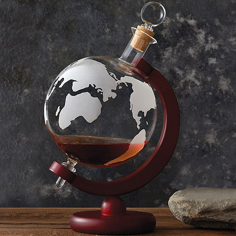 Etched Globe Whiskey Decanter
