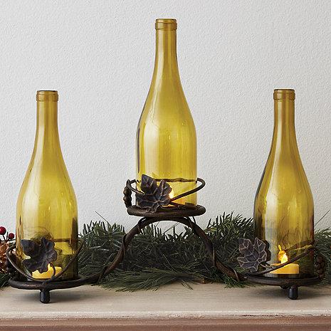 Grapevine Wine Bottle Candle Holder