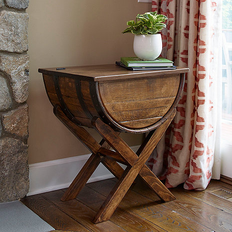 Handmade Whiskey Barrel Accent Table