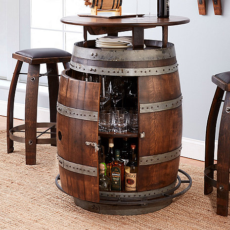 Vintage Oak Wine Barrel Bistro Table Amp Bar Stools Whiskey